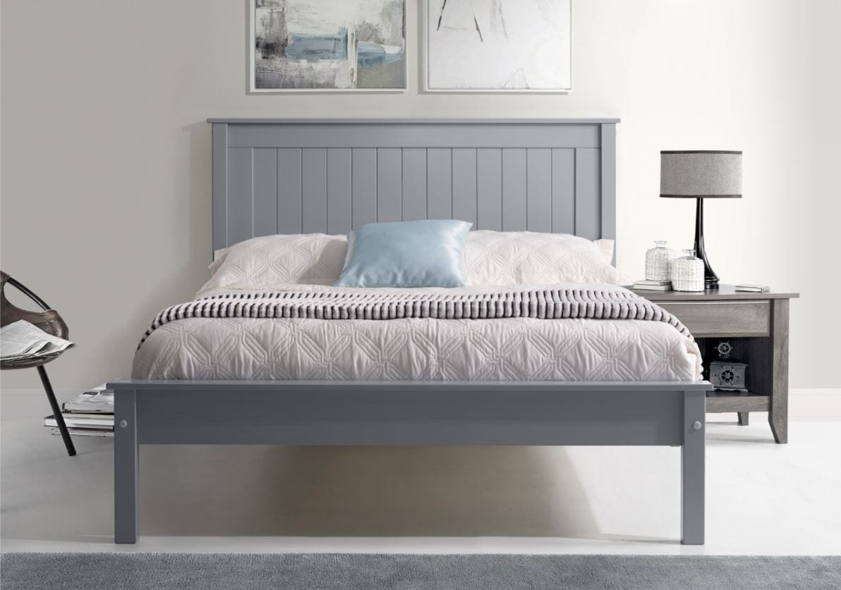 Shelby Low End Painted Bed Frame Grey Top Drawer Cork