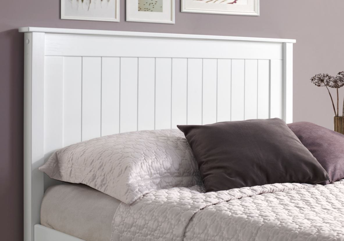 Shelby High End Painted Bed Frame White Top Drawer Cork