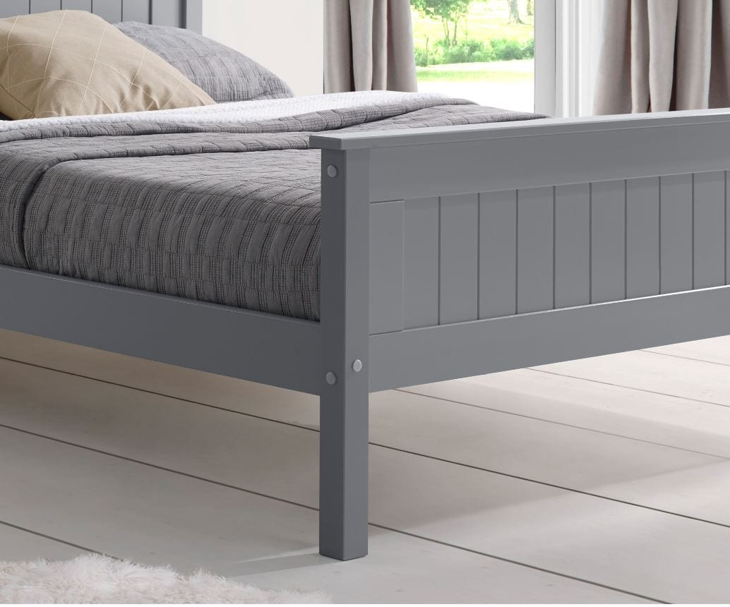 Shelby High End Painted Bed Frame Grey Top Drawer Cork